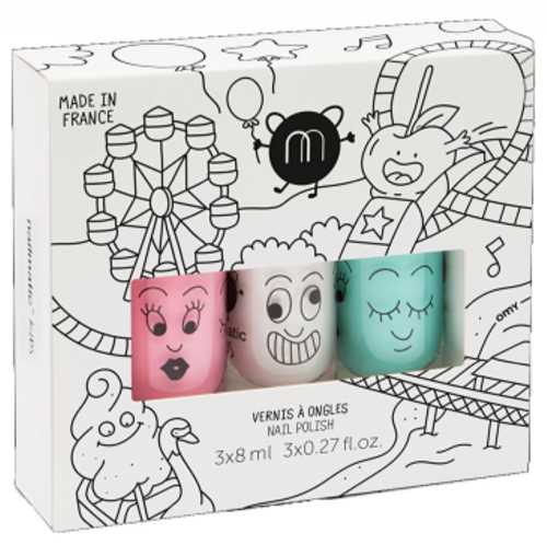 nailmatic® kids - water based nail polish 3 Pack - FUNFAIR (Mint Green/Sparkly White/Dusty Pink)